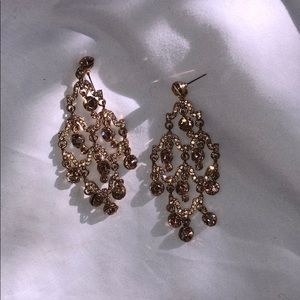 Over sized chandelier earring gold tone